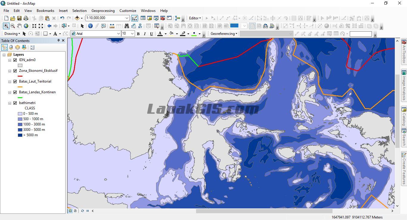 Shapefile Batimetri dan Batas Negara Sisi Laut NKRI - Format SHP Gratis