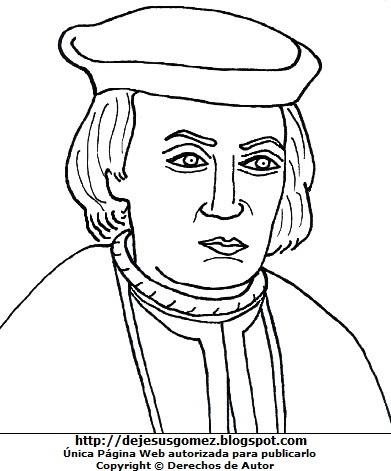 Dibujo de Cristobal Colón para colorear pintar imprimir. Imagen de Cristobal Colón de Jesus Gómez