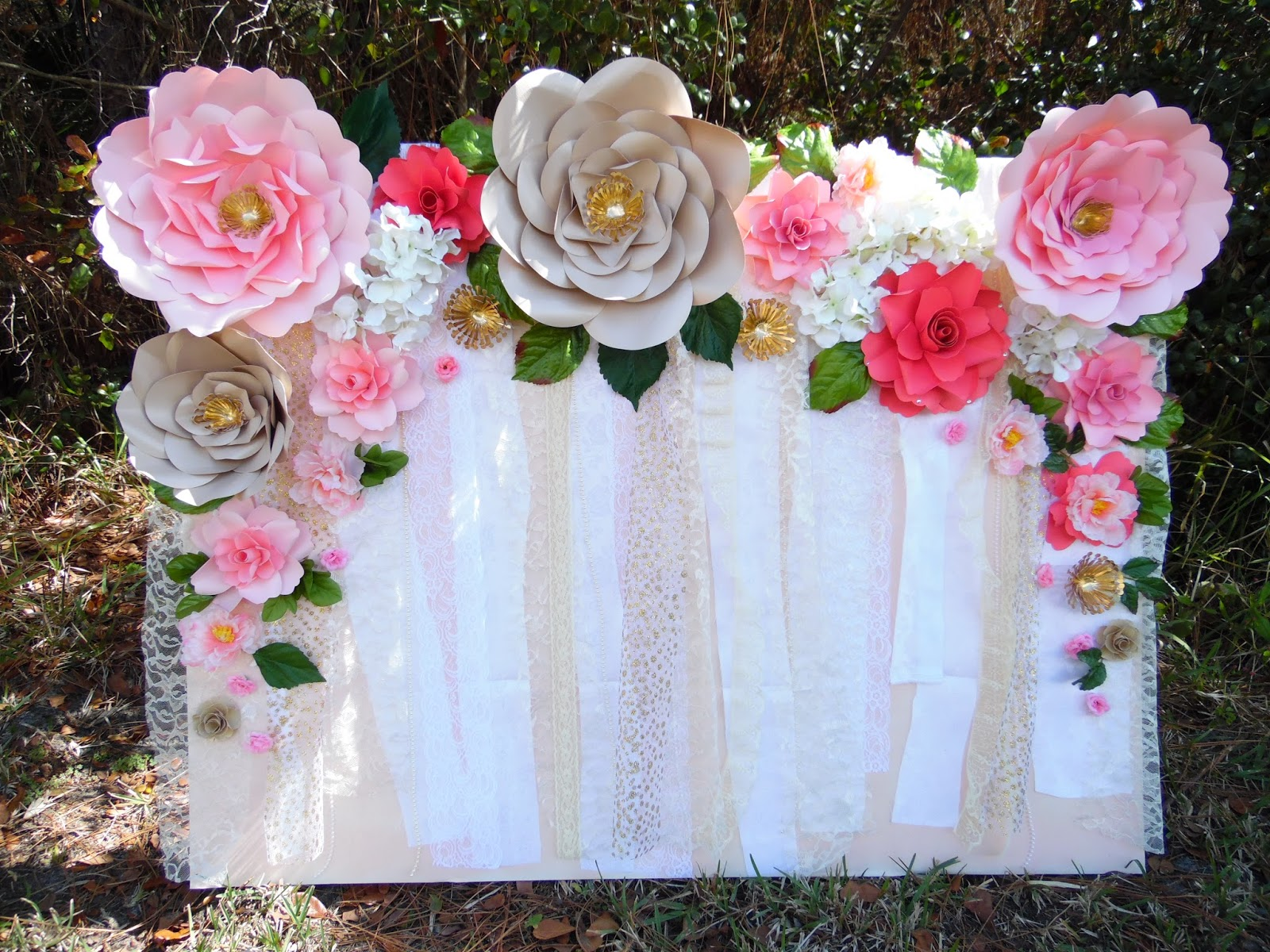 Easy paper flower backdrop assembly abbi kirsten collections for Flower decoration made of paper