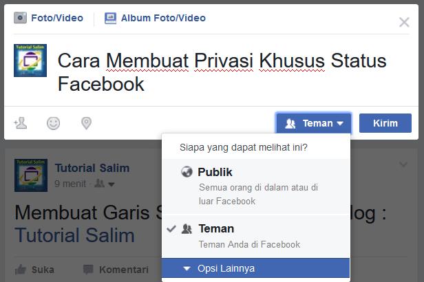 Cara Membuat Privasi Khusus Status Facebook
