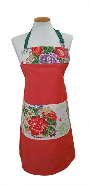 delantal llamativo rojo y flores