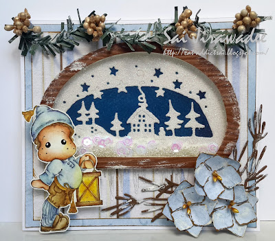 Magnolia Edwin with Christmas Lantern Shaker Card