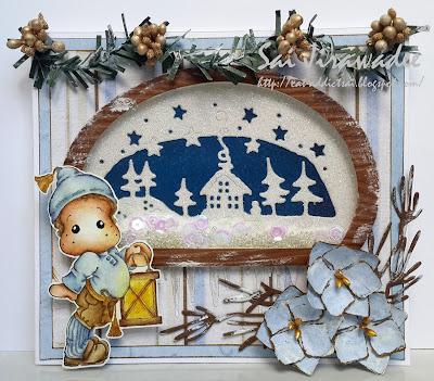Magnolia Edwin with Christmas Lantern Shaker Card
