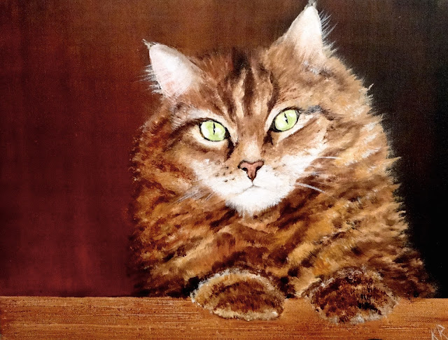 oil painting of fluffy, red, tabby cat