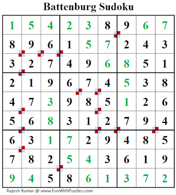 Battenburg Sudoku (Fun With Sudoku #187) Puzzle Answer