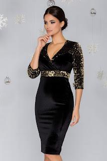 Rochie MBG neagra din catifea cu paiete aurii