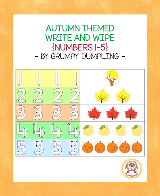 https://www.teacherspayteachers.com/Product/Autumn-Themed-Write-and-Wipe-Numbers-1-5-2130094