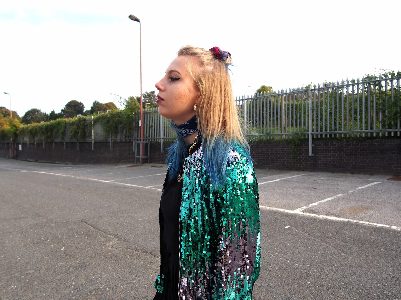 mermaid outfit, mermaid sequins, sequin bomber jacket, pleated culottes, gold rope chain, bandana neck scarf, skinnydip holographic shell bag, autumn winter ootn night out outfit