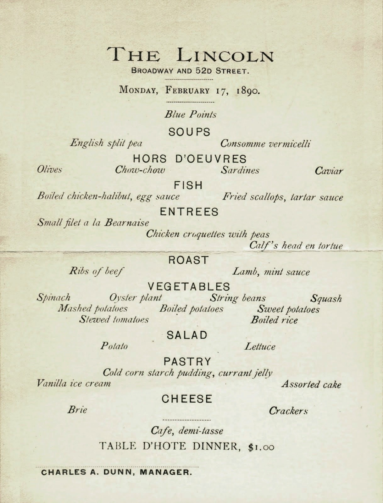 The american menu chauncey depew s big day for Table table restaurant menu