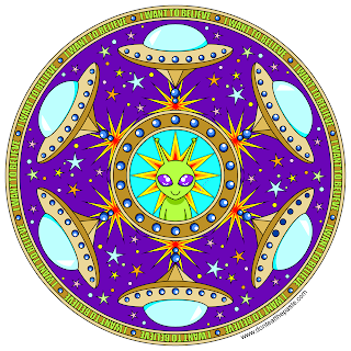 I want to believe alien mandala- blank version available to color
