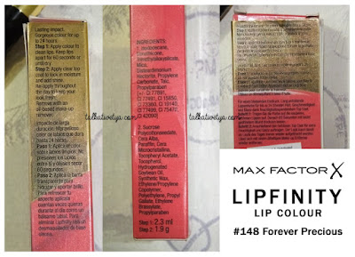 Max Factor Lipfinity lip colour box with ingredients and how to use