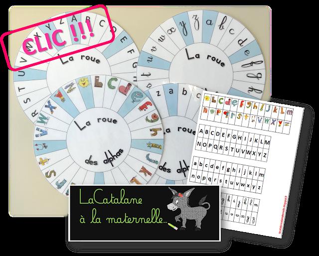 Roue des alphas - alphas / script / cursif (LaCatalane)