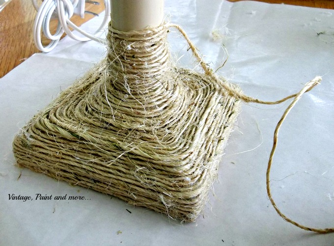 Vintage, Paint and more... how to wrap a lamp with twine, DIY twine wrapped lamp, twine craft