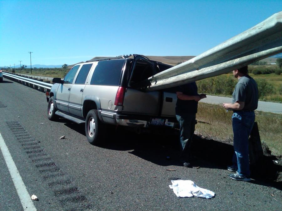 World Of Mysteries: Photographs show an SUV impaled by a guardrail