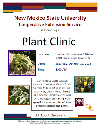Advertising Flyer for the Los Ranchos Growers' Market Plant Clinic