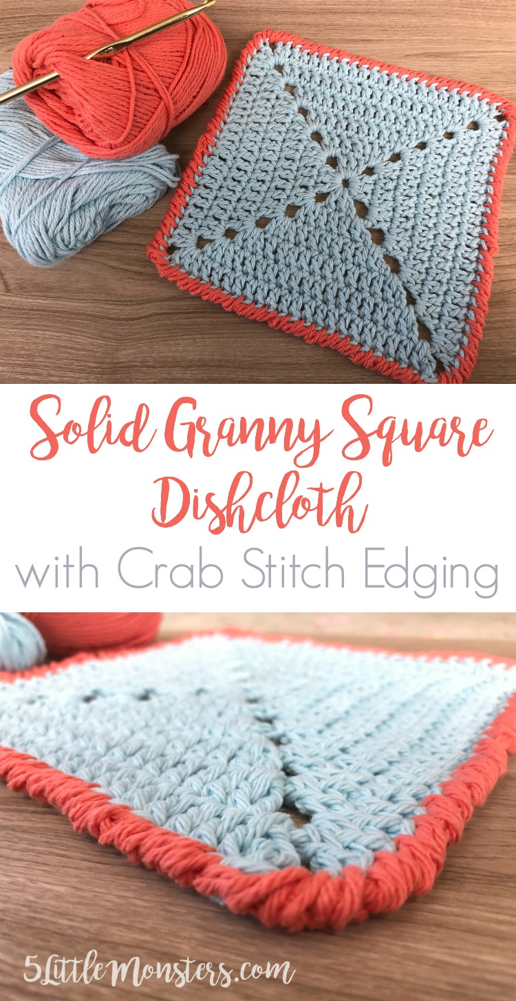 5 Little Monsters Solid Granny Square Dishcloth With Crab Stitch Edging