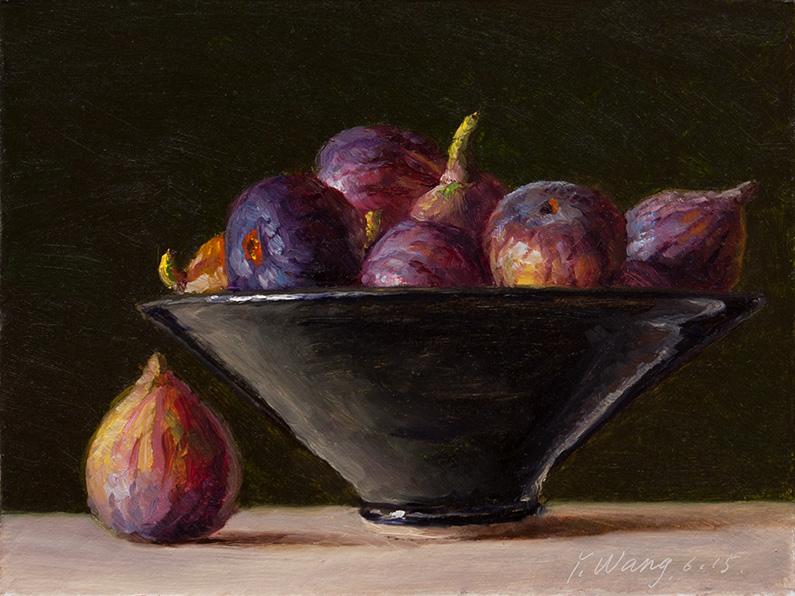 Wang Fine Art Figs In A Bowl Still Life Oil Painting Original Fruit