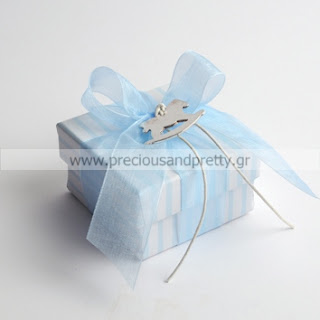 greek baptism favors boy blue stripe box with horse