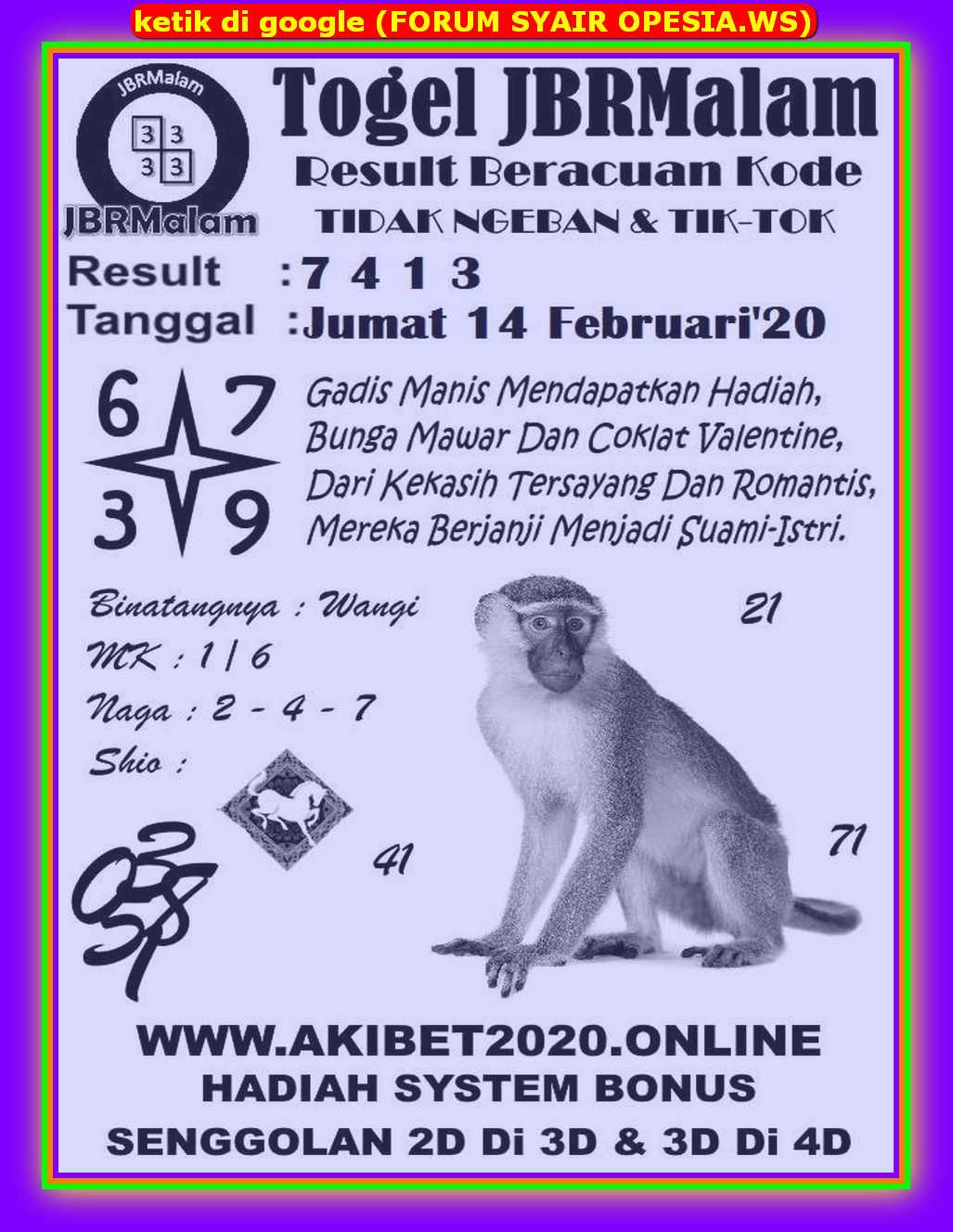 Kode syair Sydney Jumat 14 Februari 2020 63