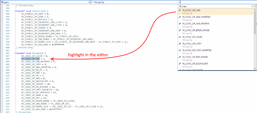 Navigate to with symbol highlight