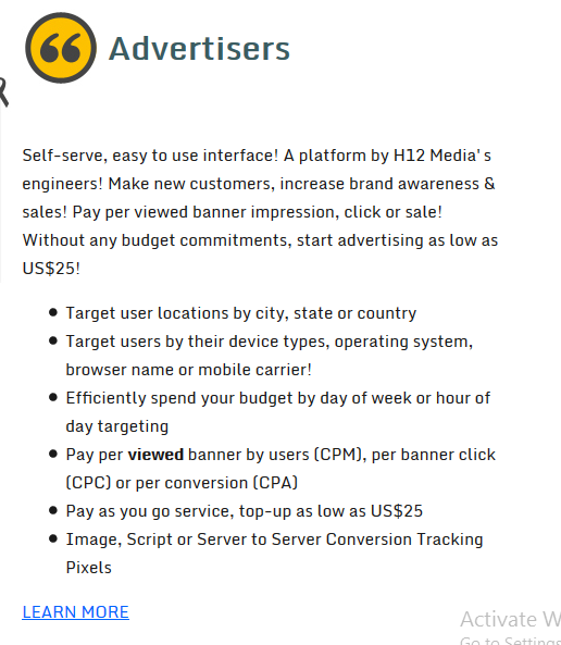 h12 media advertisers review.