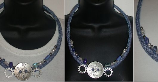 Ocean Blue Button Textile Necklace