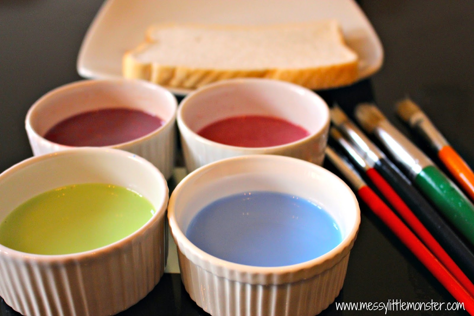 How to make edible paint for kids.  A simple recipe to make painted toast.