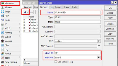 Membuat interface VLAN di Mikrotik