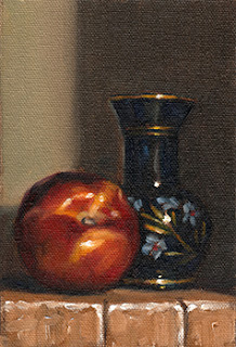 Oil painting of a blue painted-glass vase beside a nectarine.