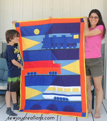 Trains at Night quilt from kit