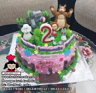 Kue Tart Buttercream Tema Marsha and The Bear