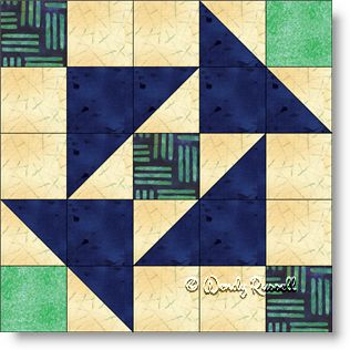 Auntie's Puzzle quilt block image © Wendy Russell
