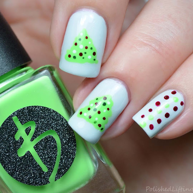 neon green christmas tree nail art