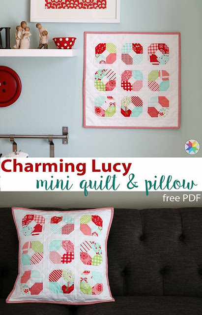 Charming Lucy mini quilt or pillow free PDF pattern from Andy of A Bright Corner--- A great idea for using those mini charm packs!
