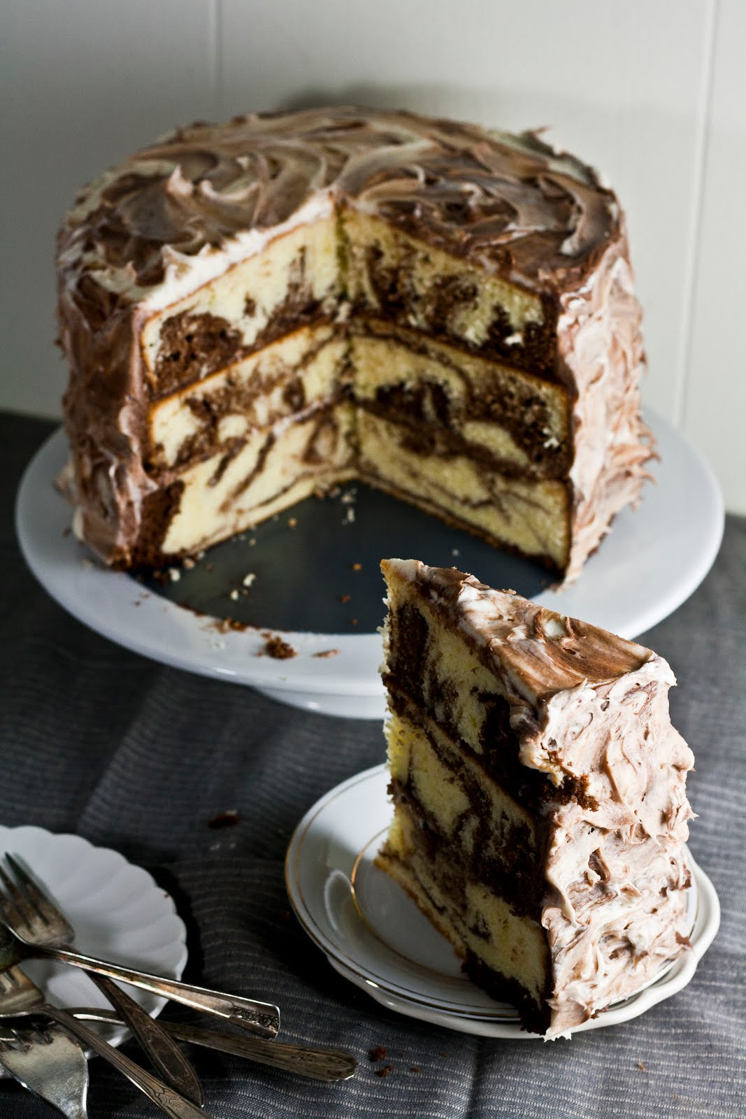 Chocolate And Vanilla Marble Layer Cake