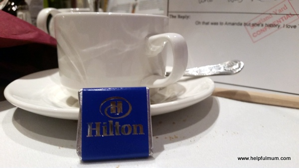 Tea and Hilton chocolate