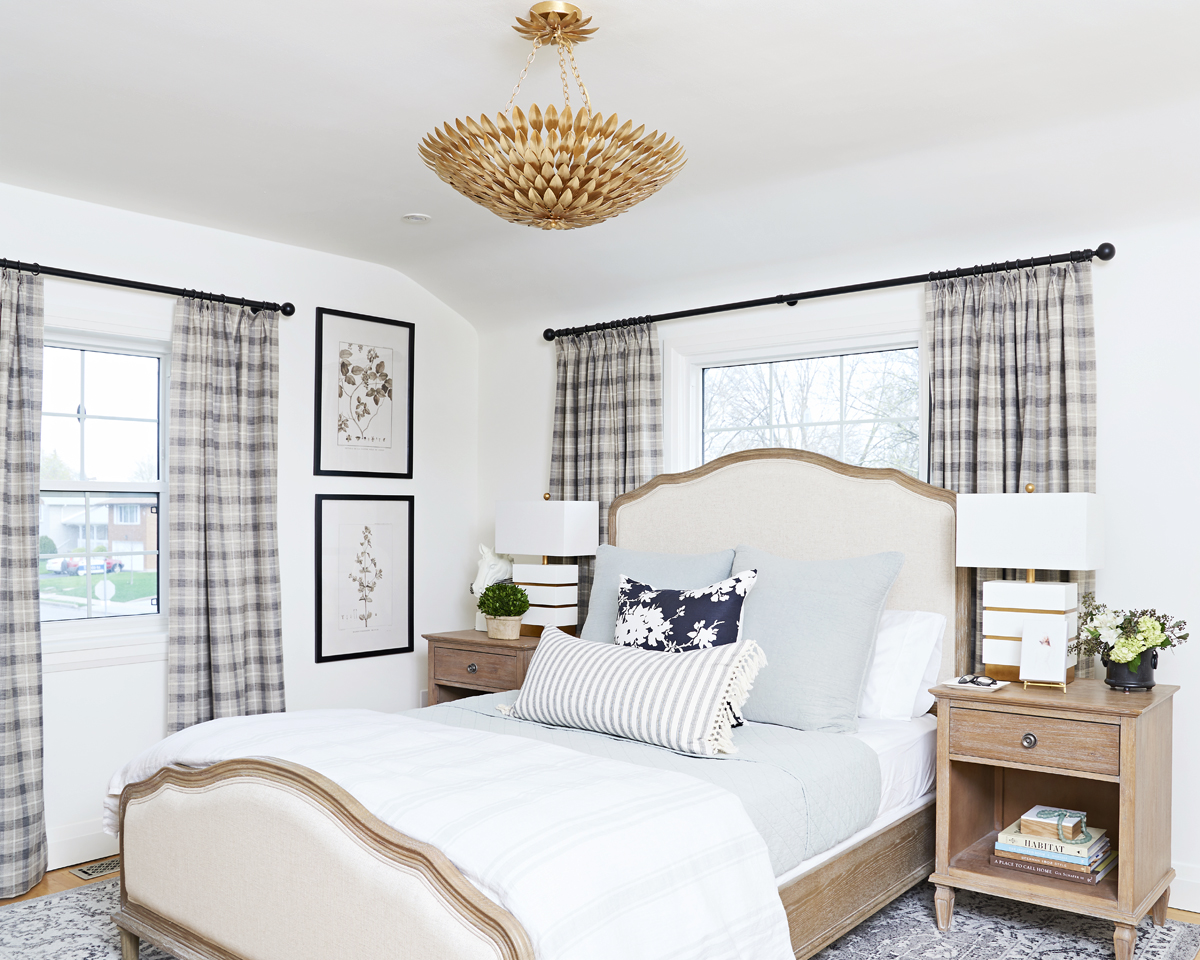 calm neutral master bedroom, Rambling Renovators, plaid curtains, crystorama ceiling fixture, botanical art