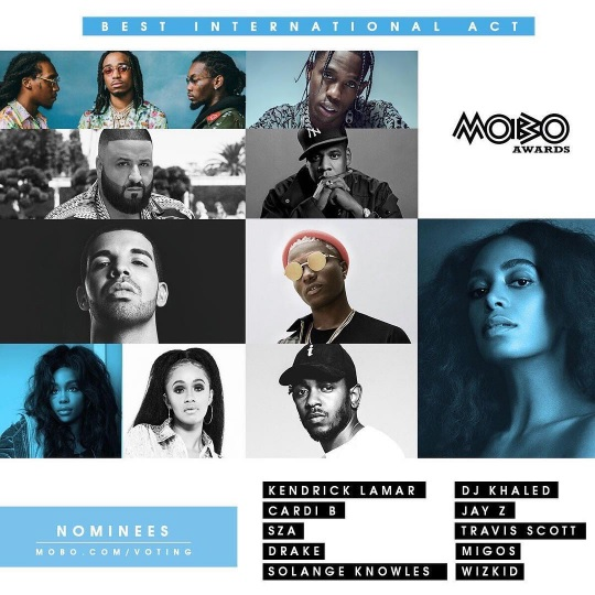 2017 MOBO Awards Nominees: Wizkid Breaks Record, Will Duel With Drake, Jay Z and Other African Acts (See Full List Here)