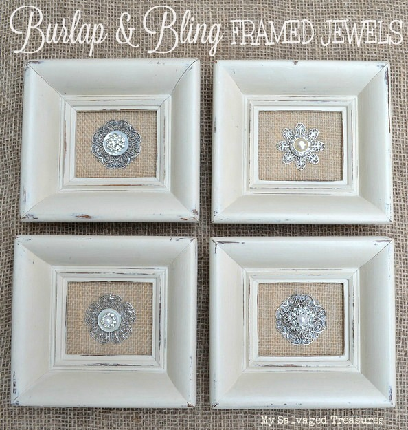 how to update old frames with burlap, paint, and vintage jewels