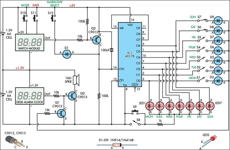 led clock wiring diagram led clock circuit diagram