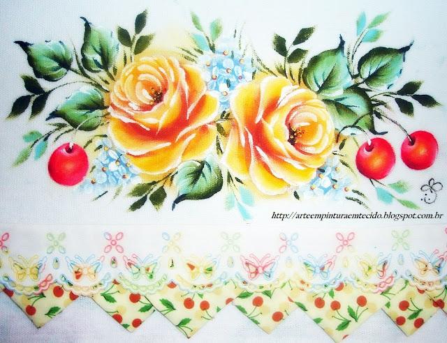 pintura em tecido pano de prato flores e frutas rosas e cerejas