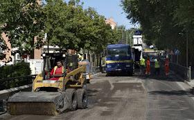 Mejora del asfalto obras de la M-118 a su paso por Daganzo