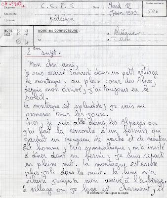 Copie d'examen du certificat d'Etudes Primaires, candidat N°506, session 1979 (collection musée)