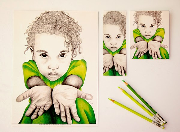 Go Green For Me 9x12 print, bookmark and notebook with 3 green prismacolor pencils