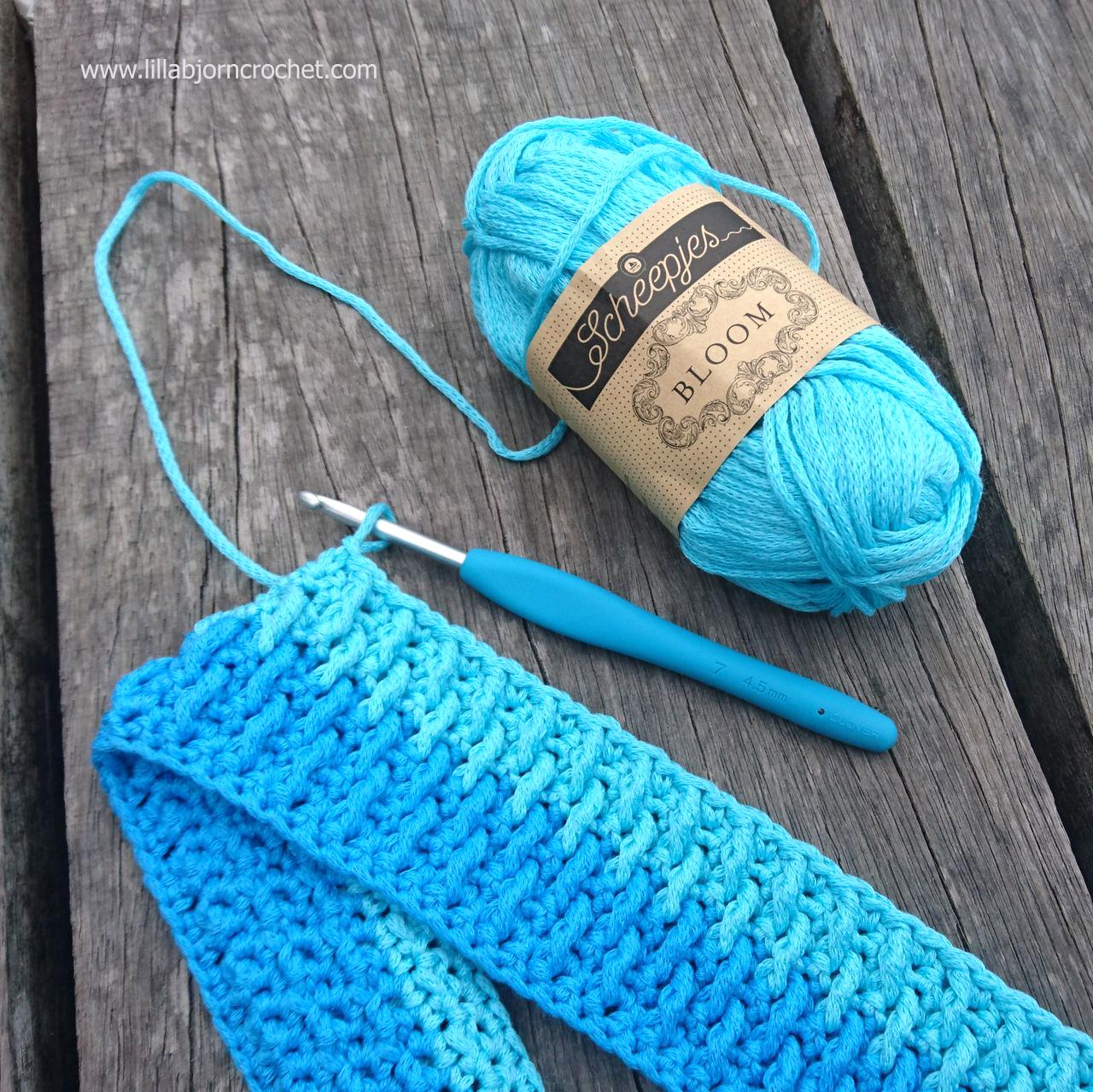 Bathmat with Bloom yarn by Scheepjes. Free crochet pattern by Lilla Bjorn