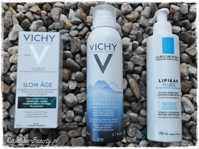 Vichy, Slow Age, Pielęgnacja opóźniająca pojawianie się oznak starzenia Vichy, Eau Thermale, woda termalna La Roche-Posay, Lipikar Fluide, Kojąco-ochronna emulsja nawilżająca do ciała