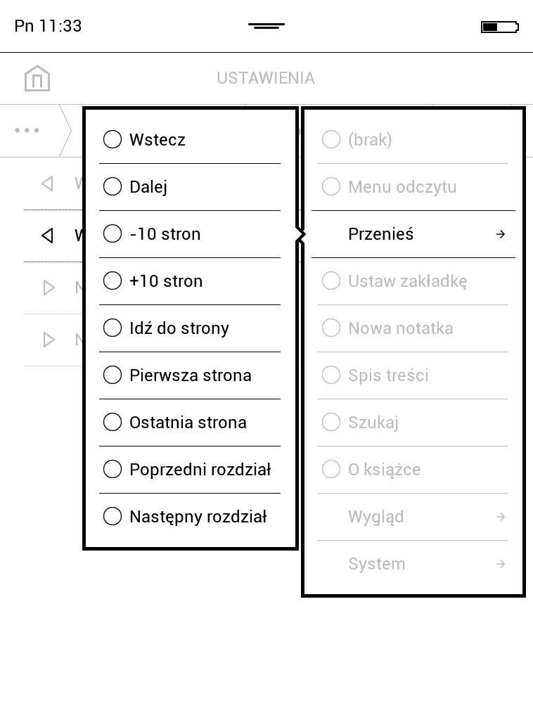 PocketBook Touch Lux 4 – lista funkcji, które można przypisać klawiszom pod ekranem z uwzględnieniem nawigacji