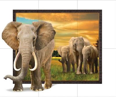 กระเบื้องบุผนังพิมพ์ลาย ภาพชุด ช้าง