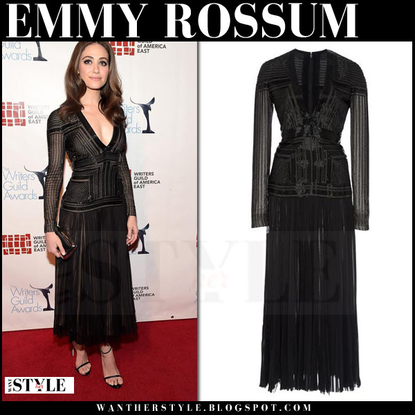 Emmy Rossum in black pleated j mendel maxi dress red carpet what she wore
