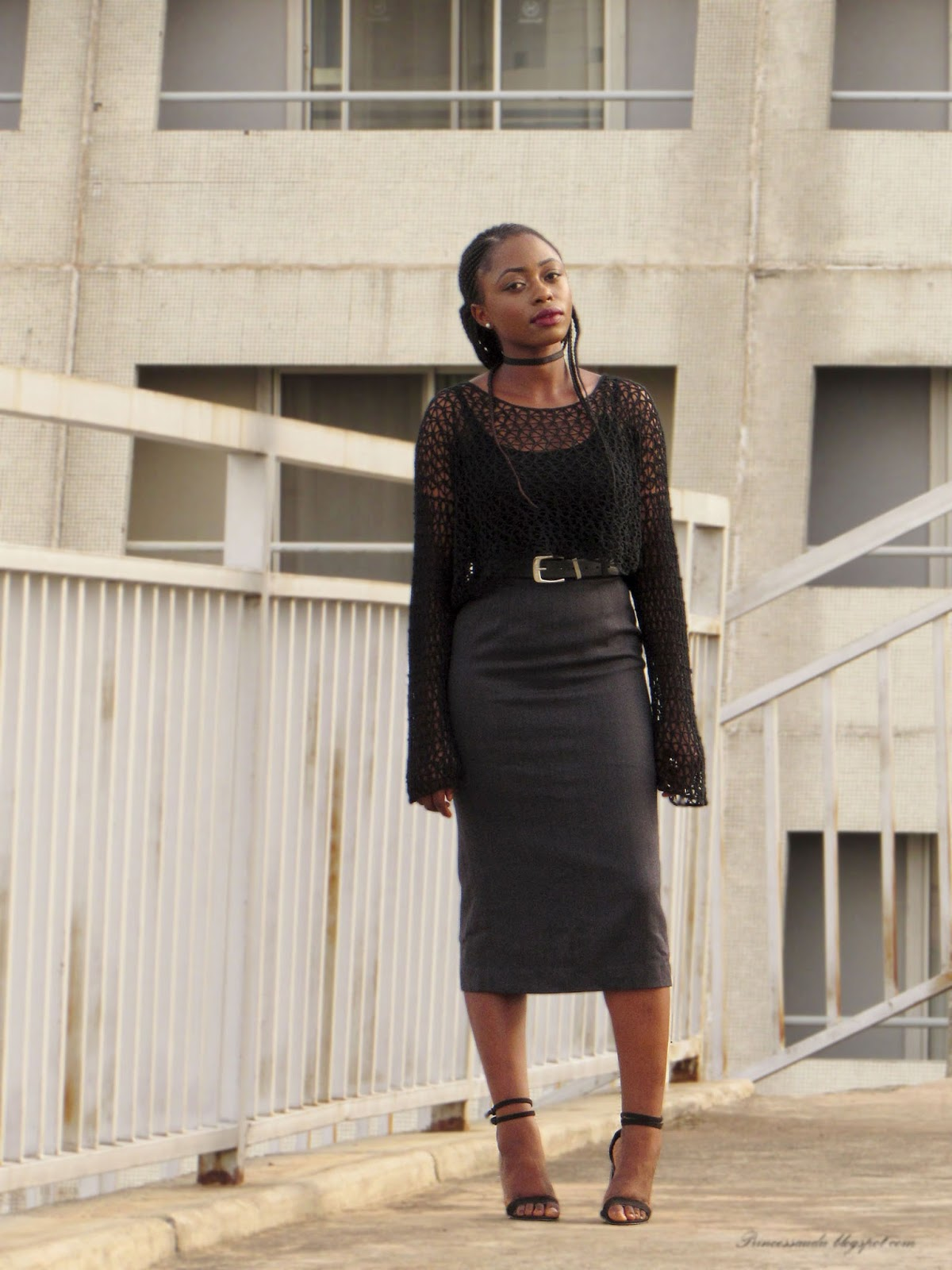 Body-con skirt, grey pencil midi skirt, black knitwear top, choker, buckle belt